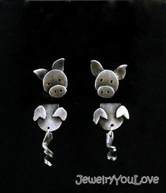 Sterling Silver Pig Front and Back Earrings by JYLbyPeekaliu This Little Piggy, Little Pigs, Hippie Jewelry, Diy Jewelry, Jewlery, Piggly Wiggly, Pig Pen, Clouded Leopard, Pig Stuff