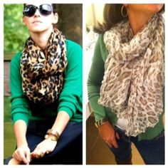 leopard scarf with a green cardigan and dark blue skinny jeans