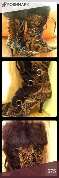 """👠GORGEOUS PAISLEY FABRIC & FUR VINTAGE STYLE BOOT Absolutely Gorgeous Vintage Style Brown Paisley Fabric & Fur-Trimmed Boot, Size 8, but runs a little small. Worn Twice. In great condition! Stiletto heel is approximately 3"""". Boots have zipper, lace ties & non-slip stick-on pads on the bottom. The hardware is silver. They call this boot """"The Honey."""" Extremely Unique! Smoke/pet free. Shoes Heeled Boots"""
