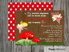 Woodland Fairy Birthday Invitation Fairy Princess Party on Etsy, $15.00