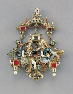 Pendant - with mythological figures (triumph of Venus Marina?), prague, ca. 1600 .