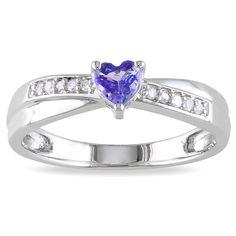 Miadora Sterling Silver Tanzanite and Diamond Accent Heart Ring