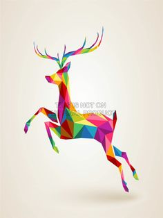 PAINTING ILLUSTRATION RUNNING LEAPING DEER POLYGON ART PRINT POSTER MP3175B