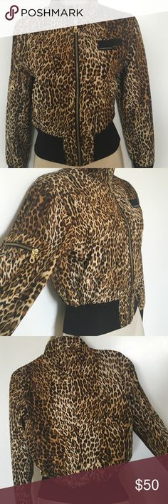 Members Only Leopard Jacket Short MO Leopard Jacket.                                       Worn a couple times but looks brand new.             Missing neck collar strap (Not noticeable)              Size: Small Members Only Jackets & Coats Trench Coats