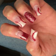 Nail design: opening day for the Angels. #nailart #angelsfan