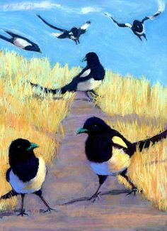 """""""A Meeting Of Parliament"""" - pastel by ©Cheryl Whitehall (via FineArtAmerica) Love this, magpies are beautiful birds in their own way."""