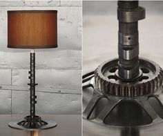 Camshaft Lamp | by Classified Moto  Made from rescuded motorbike vintage parts, this sleek and simple lamp combines a well-used brake rotor with a vintage Japanese camshaft