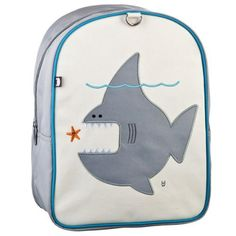 Beatrix New York Little Kid Nigel the Shark Backpack (Ages 2-4) by Beatrix New York. $42.00. Designed for ages 2 to 5.. The large interior space contains a smaller zipped pocket.. Populated by the adorable creatures of Maakun Forest, these sturdy little packs hold everything a tot needs for a busy day.. Padded back panel and padded shoulder straps.. Constructed from durable nylon and easy-to-clean laminated canvas.