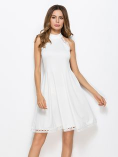 Shop Hollow Out Crochet Trim Swing Dress online. SheIn offers Hollow Out Crochet Trim Swing Dress & more to fit your fashionable needs.