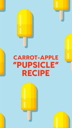 Check out this tasty carrot apple dog popsciple recipe your pup is sure to love! See the ingredients, directions, and video here! Dog Biscuit Recipes, Dog Treat Recipes, Cat Treats, Healthy Dog Treats, Dog Popsicles, Carrot Dogs, Popsicle Recipes, Dog Crafts, Dog Biscuits