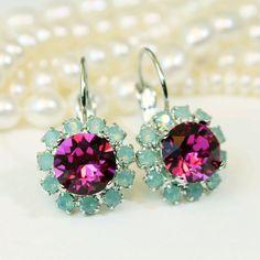 Mint Pink Crystal Earrings Mint Fuchsia Opal Swarovski Drop Halo Earrings Green Rose Bridesmaid Gift Green Wedding Silver finish,Fuchia,GE96 by TIMATIBO on Etsy