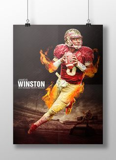 Poster to commemorate Jameis Winston's 2013 Heisman Campaign. Designed by Joe Johnson. - Photo copyright retained by Melina Vastola. Sports Graphic Design, Graphic Design Typography, Sport Design, Florida State Football, College Football, Football Baby, Football Season, Joe Johnson, Garnet And Gold