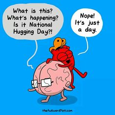 The Awkward Yeti by Nick Seluk for January 2016 What is this? Is it National Hugging Day ? Funny Cartoons, Funny Comics, Funny Memes, Hilarious, Happy Comics, Cartoon Humor, Jokes, Akward Yeti, The Awkward Yeti