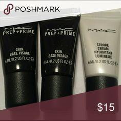 NEW - MAC Prep + Prime and Strobe Cream New- Two 6 ml/0.2 US FL.oz Mac Prep+Prime and One Mac 6 ml/0.2 US FL.oz Mac Strobe Cream. No trades. Price is Firm. MAC Cosmetics Makeup Face Primer