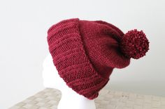Knit Slouchy Hat  Beanie  Winter Toboggan Hat by SnuggableStitches
