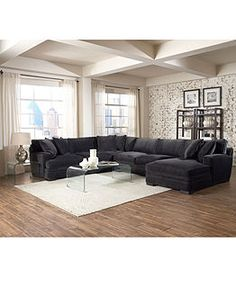 Big L-shaped fabric couch and clear lucite coffee table #livingroom #decor