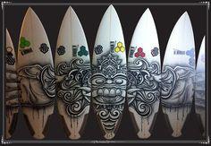 surfboard art barong - acrylic on surfboards