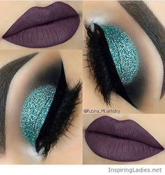 Brown matte lips and green glitter eye makeup | Inspiring Ladies