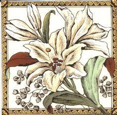 Historic Tiles - Victorian Tiles - White Lily