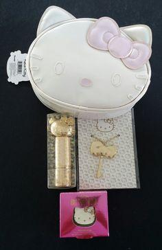 660ebf574 Set of 4 Retired Sephora x Sanrio Hello Kitty Cosmetic Case, Kabuki Brush,  Mirror, & Fragrance