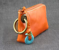 Leather Coin Purse Pouch with Stone and Colorful by RuthKraus