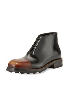 Runway+Leather+Brushed+Cap-Toe+Chukka+Boot,+Black/Brown+by+Prada+at+Neiman+Marcus.