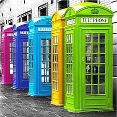 A rainbow of telephone booths