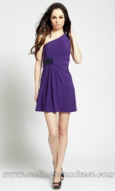 Collection One Shoulder Purple Dress Pictures - Weddings by Denise