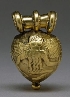 Etruscan Gold Bulla with Daedalus and Icarus, 5th Century BC. This artifact is believed to be from from Comacchio, near Ferrara, Italy.