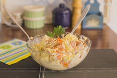 Ensalada papa, atún y zanahoria.