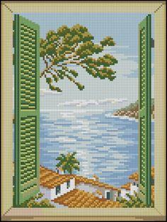 Cross Stitch Sea, Cross Stitch Beginner, Cross Stitch Bookmarks, Simple Cross Stitch, Cross Stitching, Cross Stitch Embroidery, Cross Stitch Patterns, Crochet Wall Art, Cross Stitch Landscape