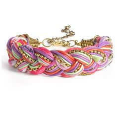 Stephan & Co. Braided Cord & Chain Bracelet Multi Pink One Size found on Polyvore