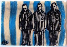 Holocaust 7, 2011, by Robin Jamison Hernandez Sharpie, colored pencil, beeswax ATC created for invitational swap