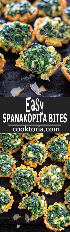 Make these adorable and delicious Easy Spanakopita Bites and surprise your guests and family with a new twist on a traditional Greek dish.COM (thanksgiving snacks appetizers) Finger Food Appetizers, Appetizers For Party, Appetizer Recipes, Greek Appetizers, Vegetarian Recipes, Cooking Recipes, Healthy Recipes, Fingers Food, Healthy Snacks