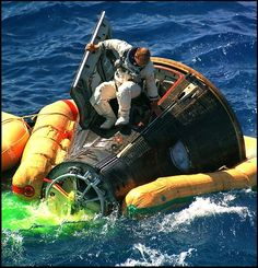 "NASA Astronaut Charles Conrad Jr. emerging from the Gemini 11 space capsule Atlantic Ocean landing September 15, 1966. Gemini 11 was the ninth crewed Earth-orbiting spacecraft of the Gemini series, carrying astronauts Charles ""Pete"" Conrad Jr. and Richard Gordon."