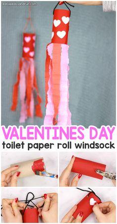 Valentines Day Windsock Toilet Paper Roll Craft for Kids - - Valentines Day Windsock Toilet Paper Roll Craft for Kids Pre- K Valentinstag Windsack Toilettenpapierrolle Handwerk für Kinder