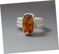 Sterling Silver and Citrine Cocktail Ring Size 7
