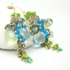 Forest pierre gemme Cluster boucle d'oreille par fussjewelry