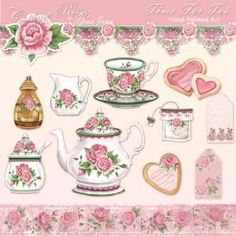 """Gina Jane's """"Cottage Roses Tea"""" Tee Kunst, Decoupage, Printable Crafts, Party Printables, Shabby Chic Pink, Rose Tea, Tea Art, Rose Cottage, Antique Roses"""