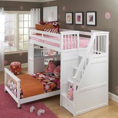NE Kids School House Stair Loft Bed with Additional Lower Bed in White - 7090-LWB-TW / 7090-LWB-FUL
