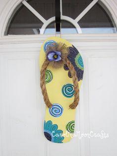 Flip Flop Summer Door Decor Wreath by CarolinaMoonCrafts on Etsy