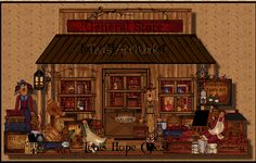 Primitive General Store..original artwork,,,CD's Tea's Hope Chest