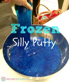 How to make Frozen silly putty at home. Easy for kids to make and fun for hours.