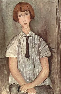 Young Girl in a Striped Shirt - Amedeo Modigliani