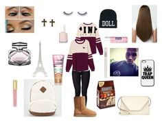 """""""Going Back From Fall Break On Top"""" by kikilangford ❤ liked on Polyvore featuring Dr. Denim, Victoria's Secret PINK, UGG Australia, Hershey's, Napoleon Perdis, Nivea, Topshop, Valextra, Victoria's Secret and Essie"""