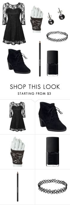 """""""Black Laced"""" by donna-bender ❤ liked on Polyvore featuring True Decadence, Clarks, NARS Cosmetics and Lancôme"""
