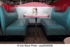 These turquoise and red leather booths at the diner take us back to the '50s.