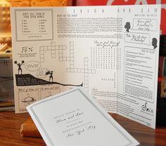 ceremony program with games, quizzes, puzzles for guests to past time while they wait- I wish I had this idea for my wedding! Fun Wedding Programs, Wedding Stationary, Wedding Reception Games For Guests, Reception Table, Wedding Invitations, Diy Wedding, Dream Wedding, Wedding Ideas, Wedding Unique