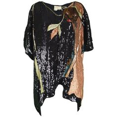 Preowned Ella Singh Rare Beaded & Sequin Black Silk Animal Vintage... (625 CAD) ❤ liked on Polyvore featuring tops, tunics, black, party animal shirt, animal shirts, short-sleeve shirt, sequin shirt and holiday shirts