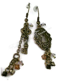 Gold Key Earrings - Gold Lock Earrings - Gold Dangle Earrings - Womens Earrings - Vintage Style Earrings - Antiqued Gold Earrings